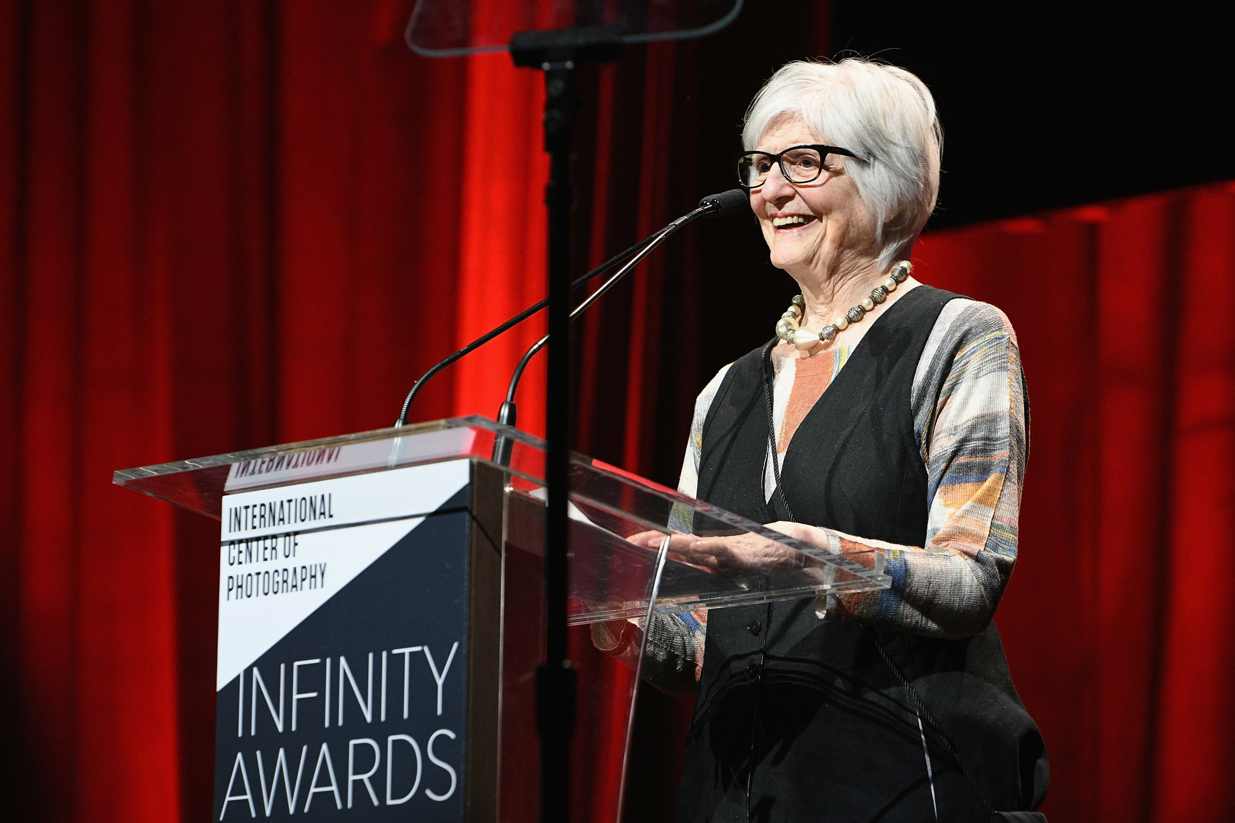 NEW YORK, NY - APRIL 02: Honoree and photographer Rosalind Fox Solomon speaks onstage during The International Center Of Photography's 35th Annual Infinity Awards at The Ziegfeld Ballroom on April 2, 2019 in New York City. (Photo by Bryan Bedder/Getty Images for International Center of Photography)