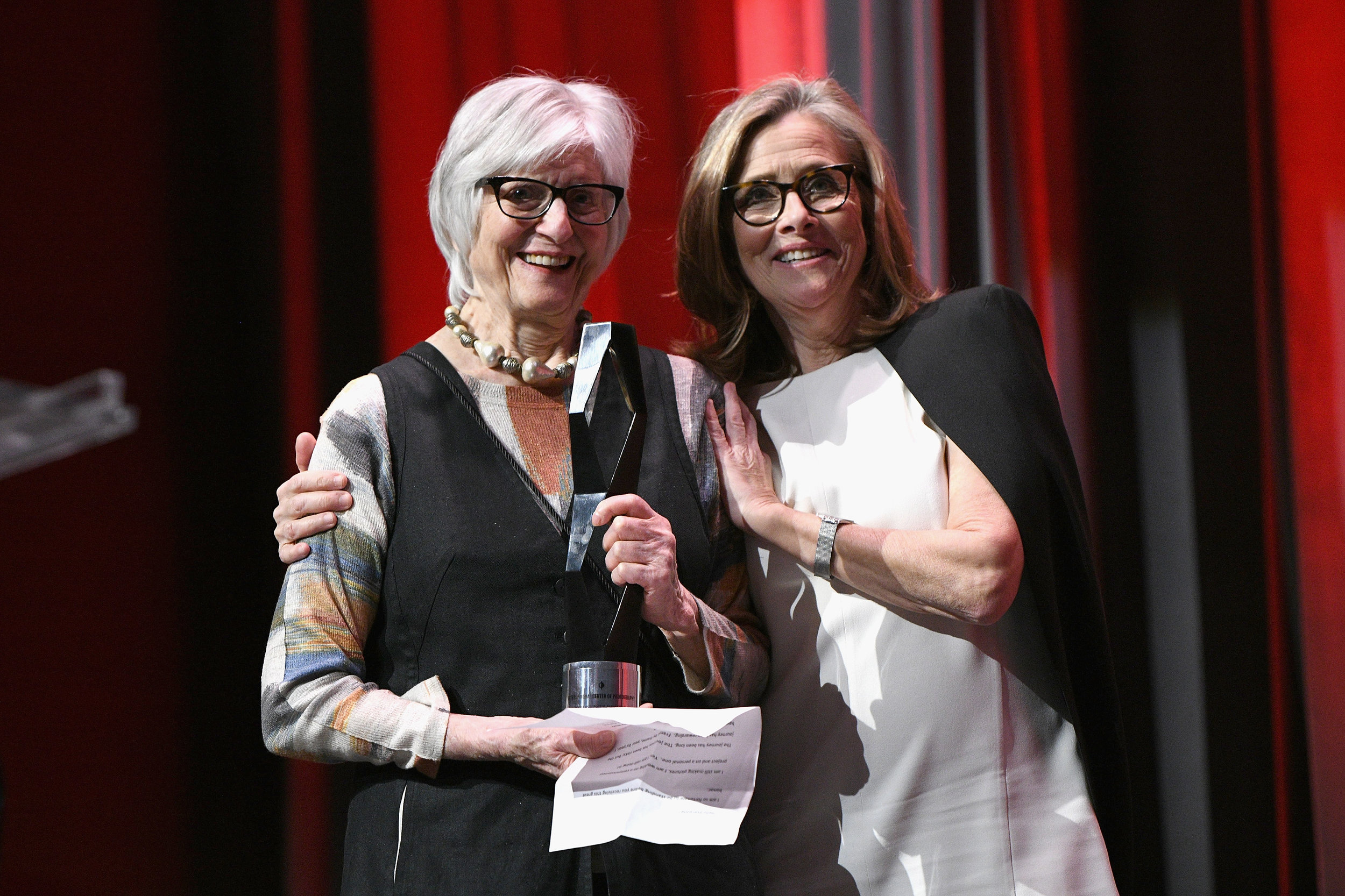 NEW YORK, NY - APRIL 02: Honoree and photographer Rosalind Fox Solomon and host Meredith Vieira pose onstage during The International Center Of Photography's 35th Annual Infinity Awards at The Ziegfeld Ballroom on April 2, 2019 in New York City. (Photo by Bryan Bedder/Getty Images for International Center of Photography)