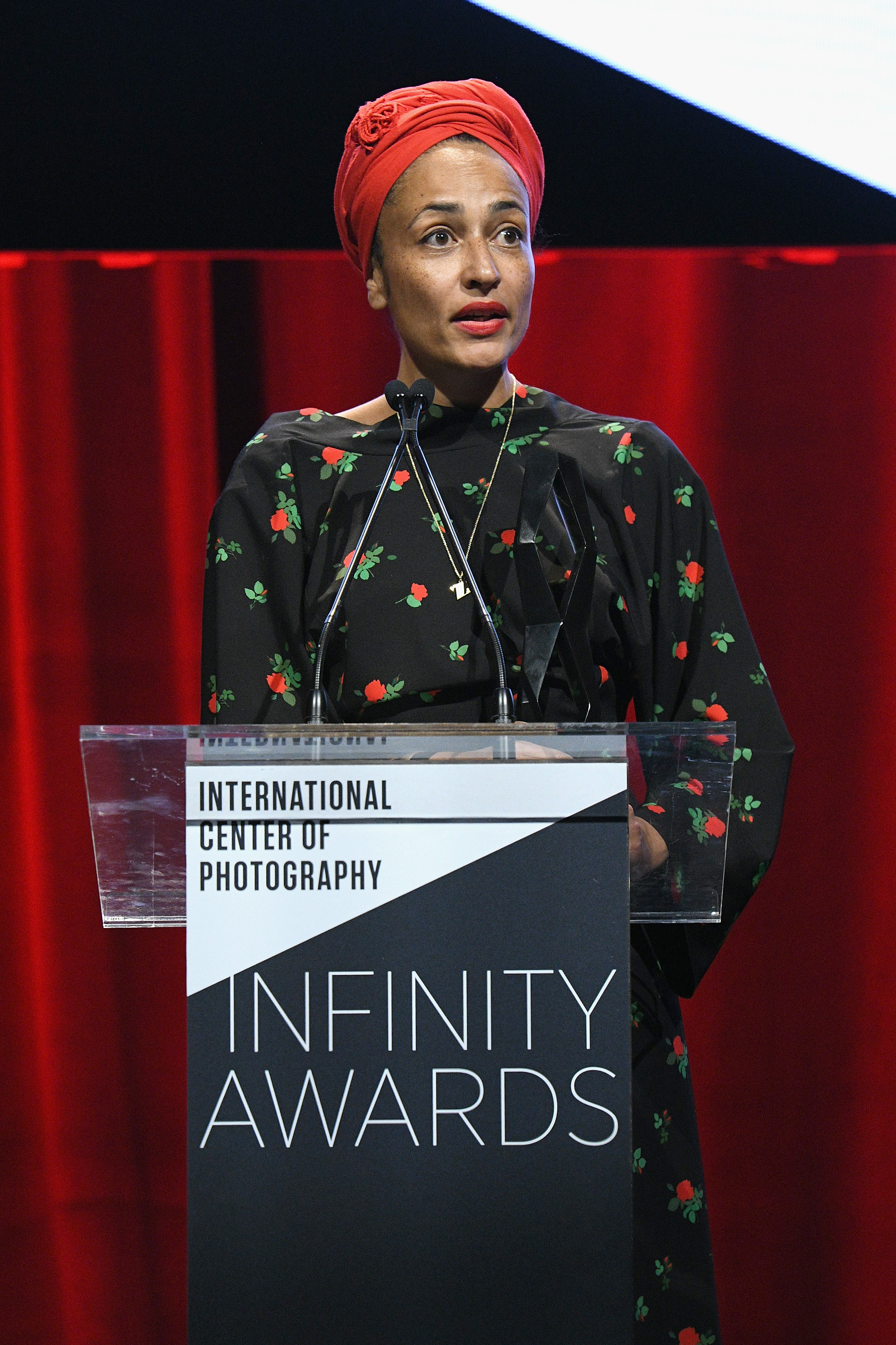 NEW YORK, NY - APRIL 02: Honoree and novelist Zadie Smith speaks onstage during The International Center Of Photography's 35th Annual Infinity Awards at The Ziegfeld Ballroom on April 2, 2019 in New York City. (Photo by Bryan Bedder/Getty Images for International Center of Photography)