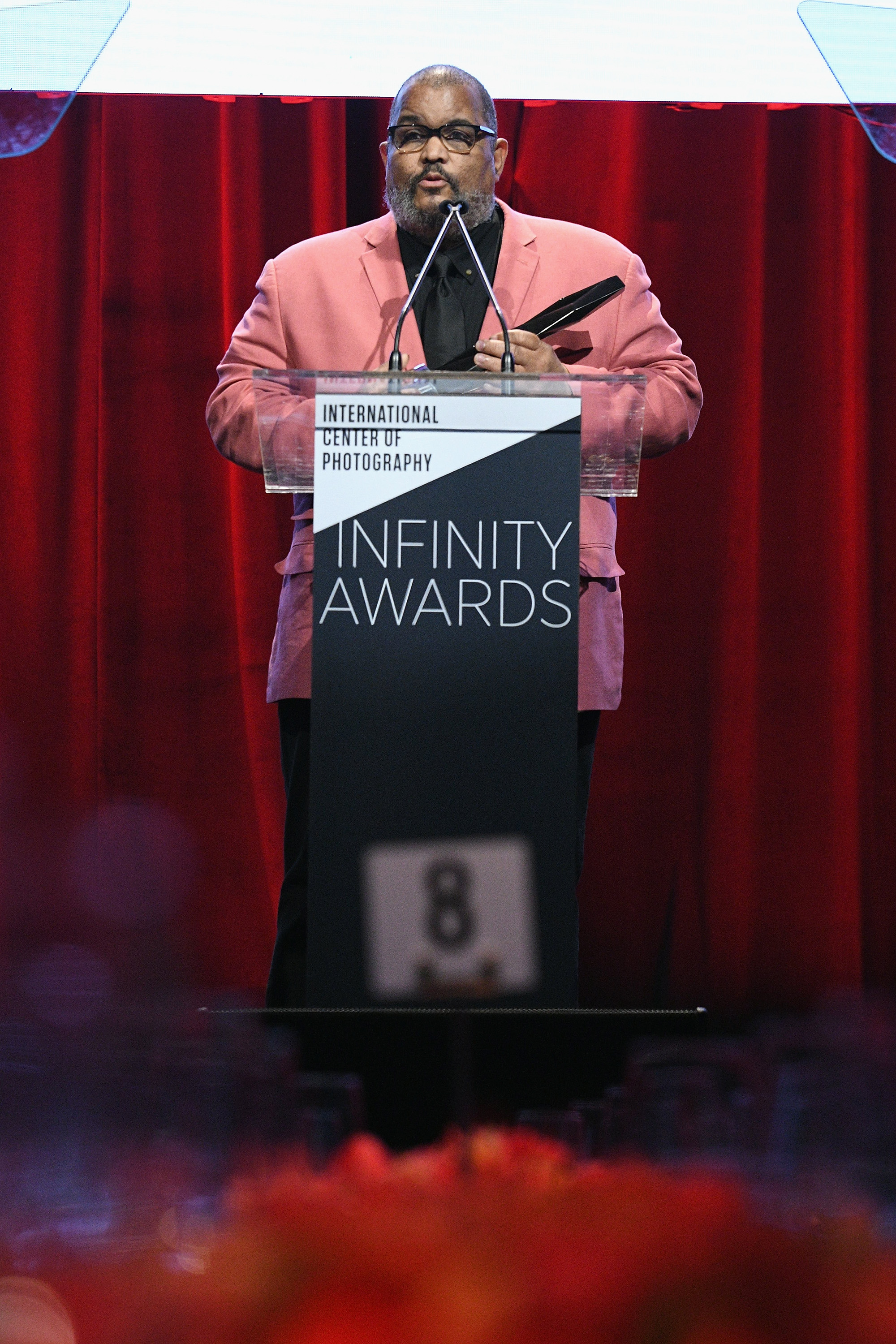 NEW YORK, NY - APRIL 02: Honoree and photographer Dawoud Bey speaks onstage during The International Center Of Photography's 35th Annual Infinity Awards at The Ziegfeld Ballroom on April 2, 2019 in New York City. (Photo by Bryan Bedder/Getty Images for International Center of Photography)