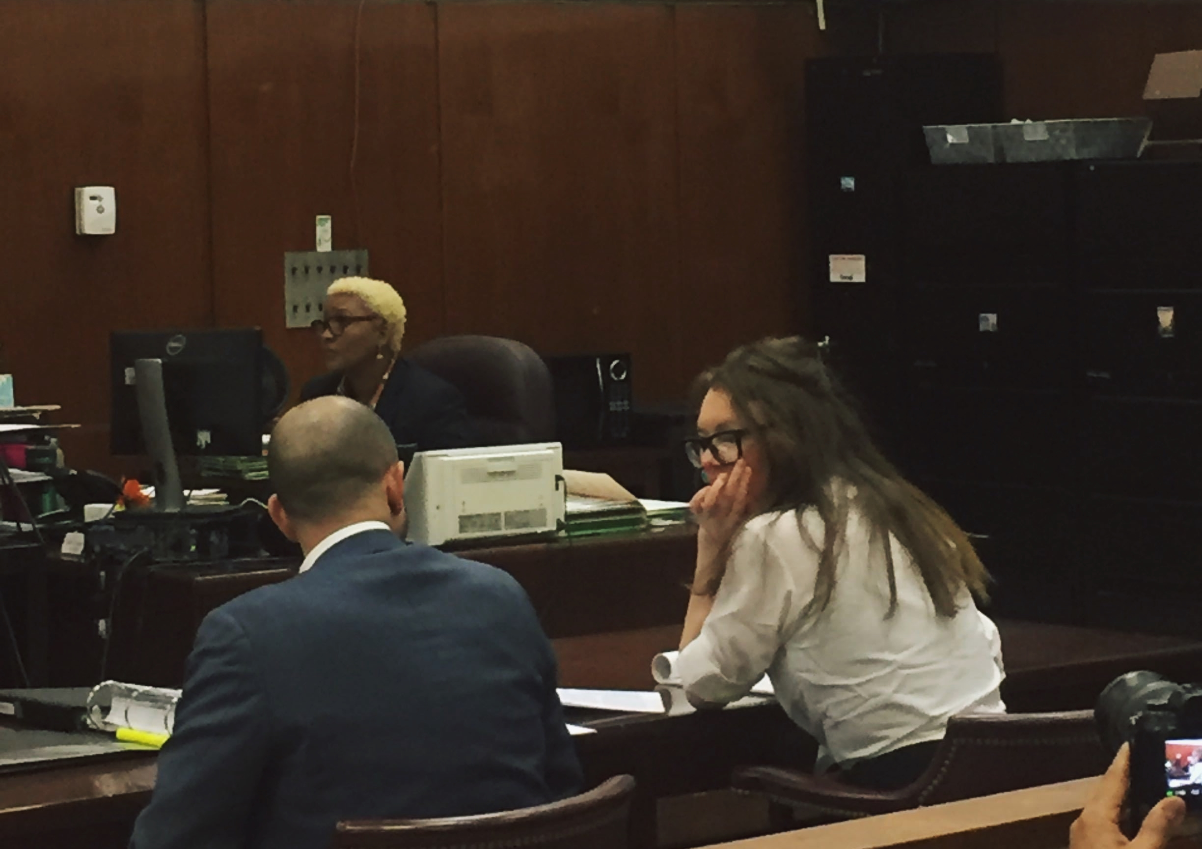 Anna Delvey in the New York courthouse, Friday April 5. Photo: Courtesy Eileen Kinsella.