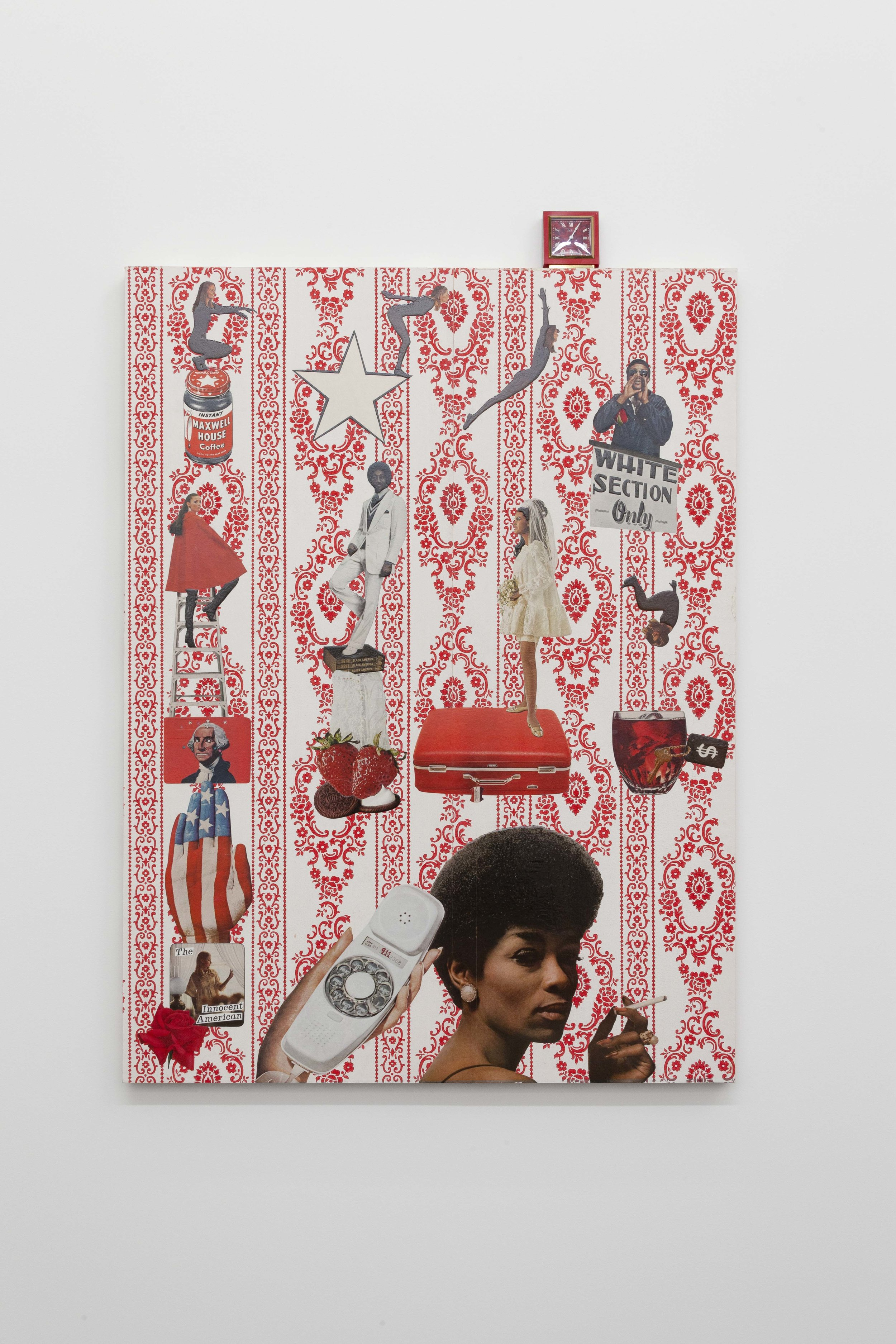 Genevieve Gaignard,  The Innocent American,  2019. Vintage wallpaper, vintage magazine cutouts, square clock, clear acrylic, on panel, 43 x 30 x 2 in. (109.2 x 76.2 x 5.1 cm). Photo by RCH Photography. Courtesy the artist and Monique Meloche Gallery, Chicago.