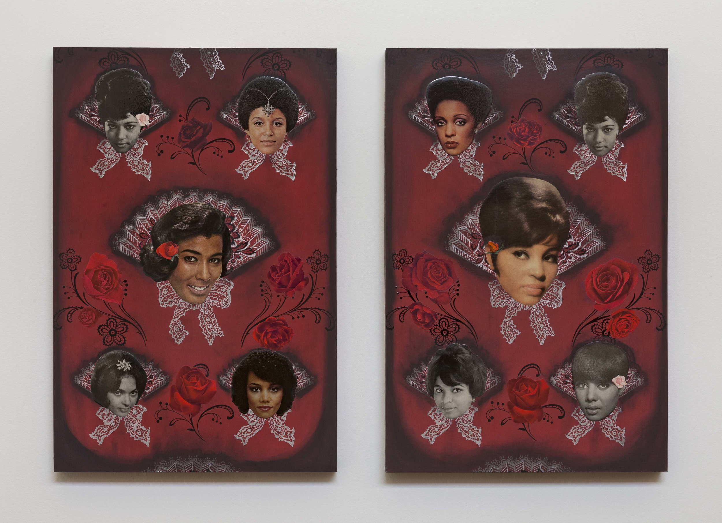 Genevieve Gaignard,  A Shout Out To My Fan Girls,  2019. Vintage wallpaper, vintage magazine cutouts, charcoal, clear acrylic, on panel, 30 x 40 x 2 in. (76.2 x 101.6 x 5.1 cm)[30 x 20 x 2 in. each panel.] Photo by RCH Photography. Courtesy the artist and Monique Meloche Gallery. Chicago.