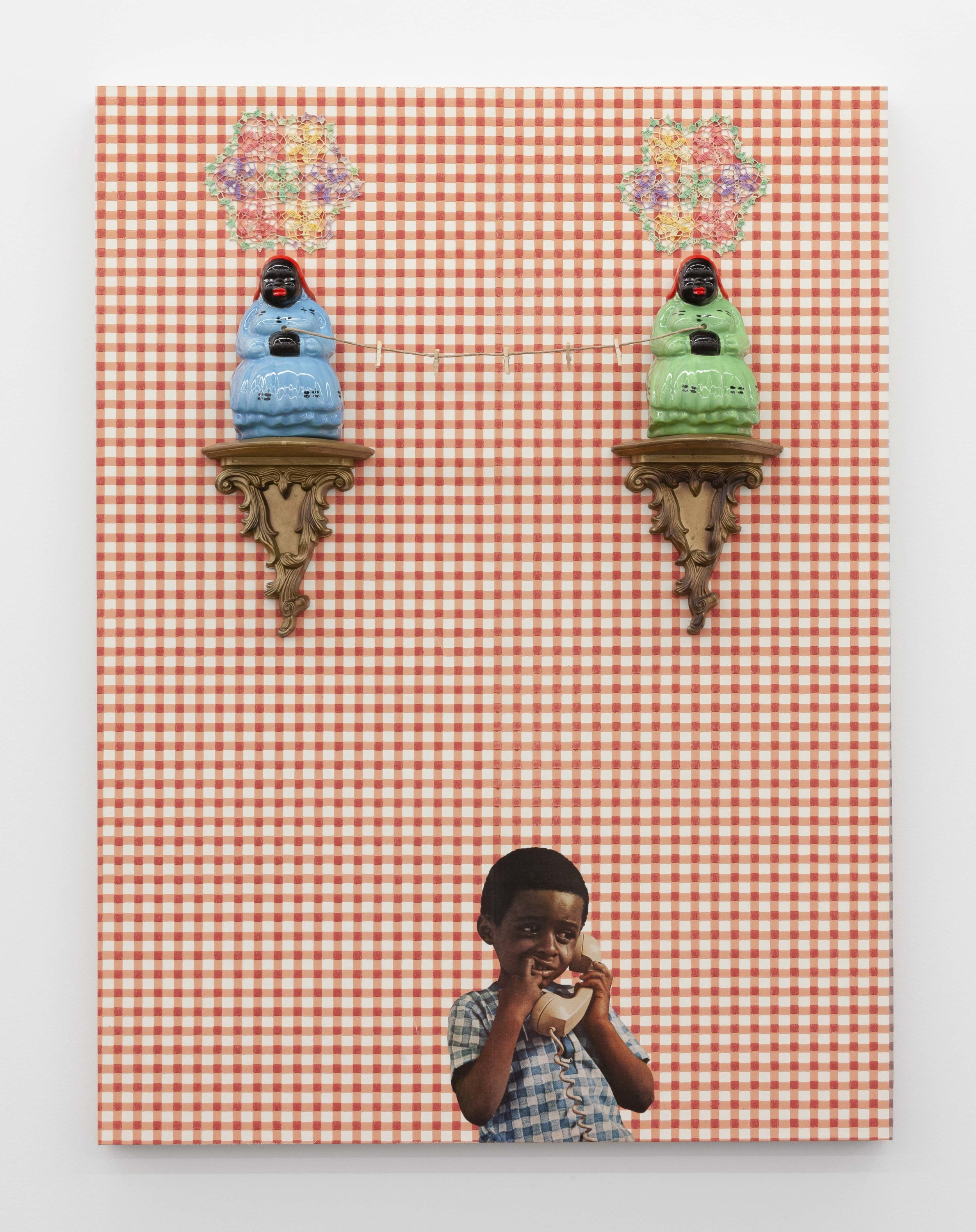 Mercy Mercy Me,  2019. Vintage wallpaper, vintage magazine cutouts, doilies, wood shelves, porcelain figurines, twine, clothespins, clear acrylic, on panel. 40 x 30 x 6 in. (101.6 x 76.2 x 15.2 cm). Photo by RCH Photography. Courtesy the artist and Monique Meloche Gallery. Chicago.