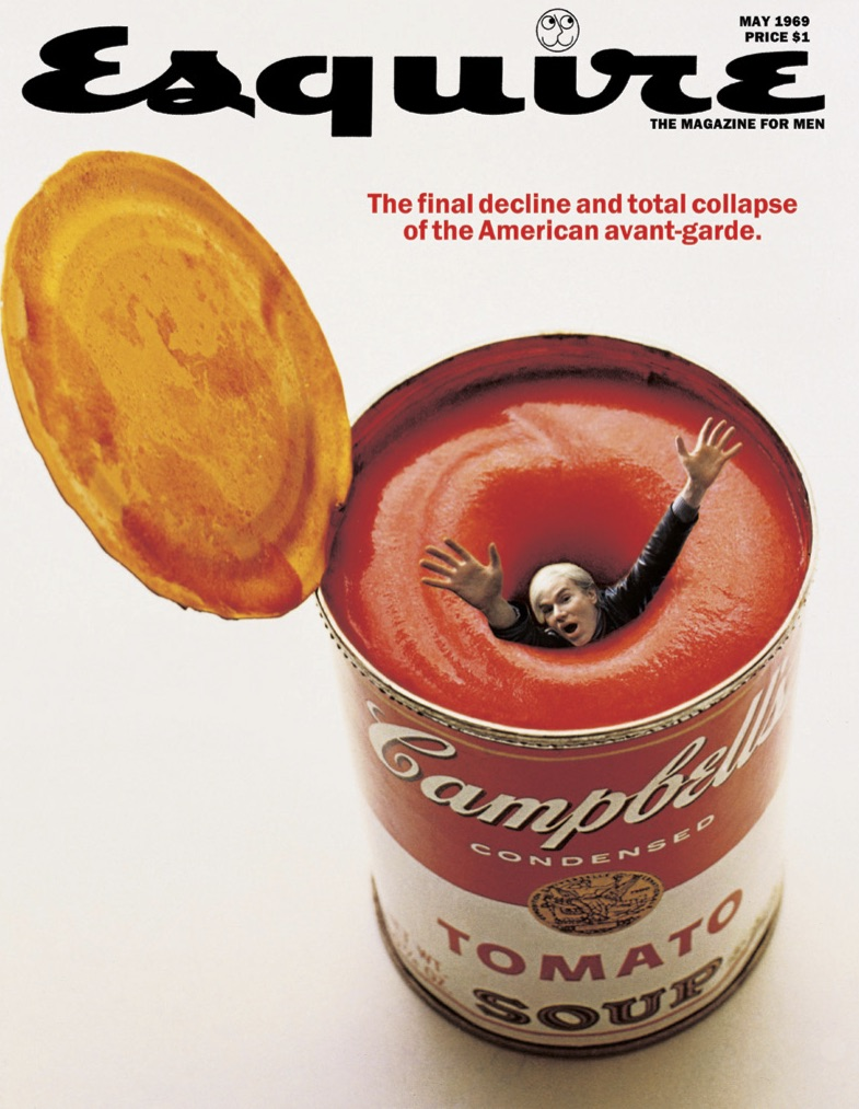 George Lois,  Andy Warhol drowning in soup. Esquire Magazine.  May, 1969