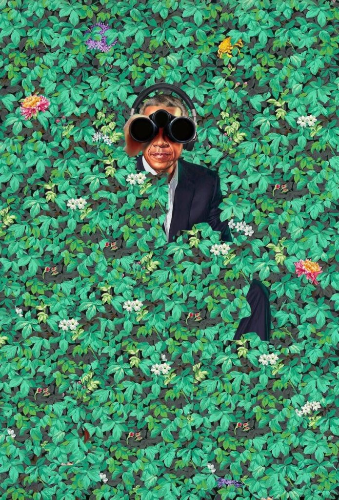 A paranoid riff on Kehinde Wiley's official portrait of President Barack Obama has been appropriated for a new t-shirt to raise funds for Donald Trump. Courtesy of ArtNet