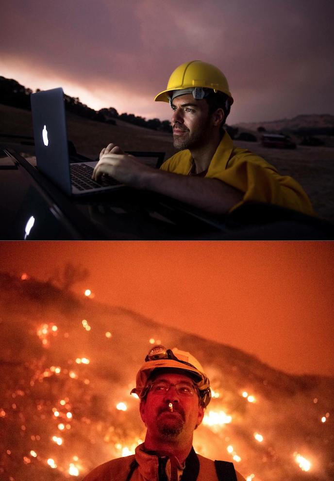 Top: Josh Edelson portrait photographed by Noah Berger. Bottom: Noah Berger portrait by Stuart Palley