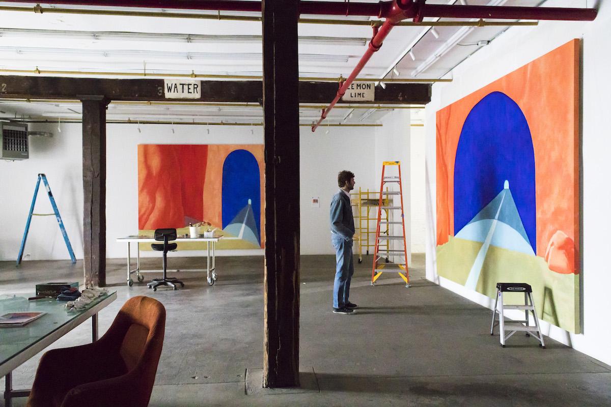 Artist in Red Hook, Brooklyn Studio, 2018. Artwork. ©Dan Colen. Photo by Eric Plasecki. Courtesy Gagosian.
