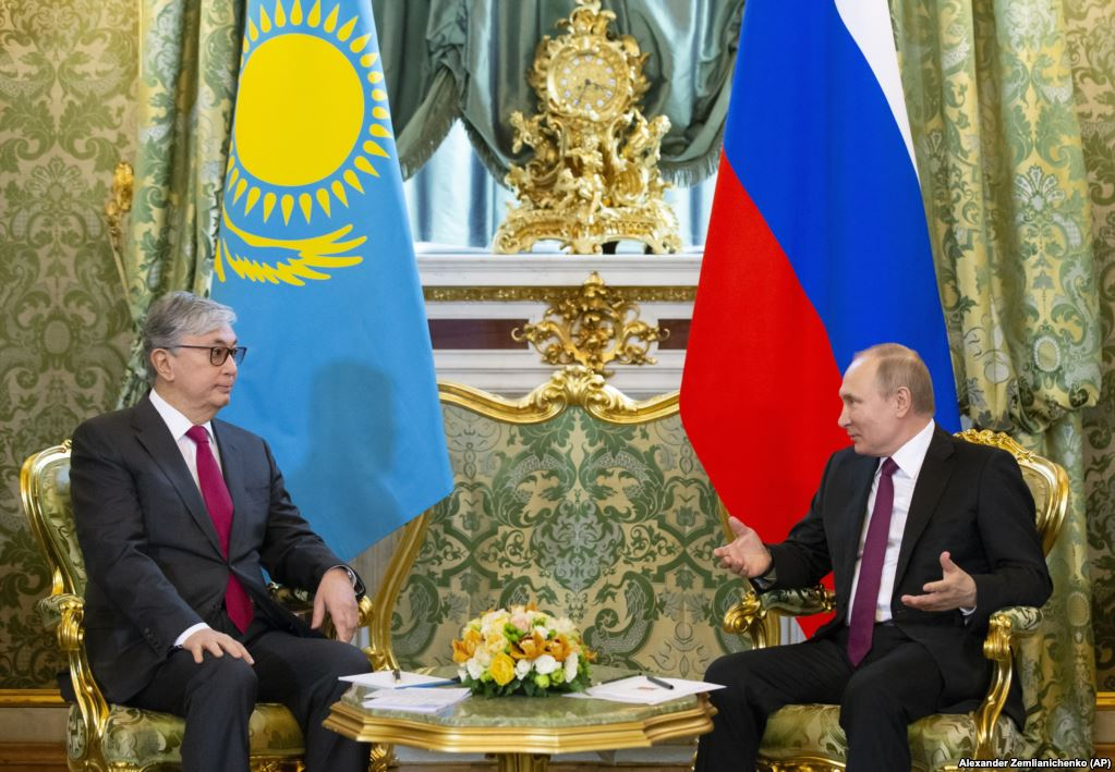 Another unedited image of Tokayev (left) (AP)