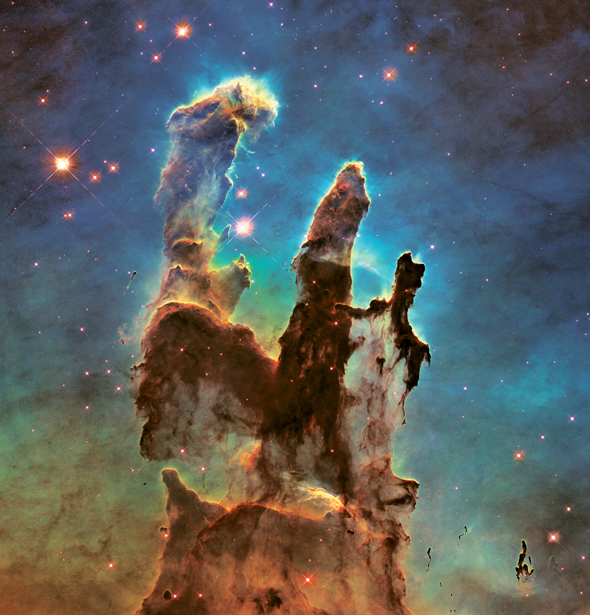 """NASA/ESA/Hubble Heritage Team, Eagle Nebula's """"Pillars of Creation,"""" 2015; from  Seeing Science  (Aperture and University of Maryland, Baltimore County, 2019)"""