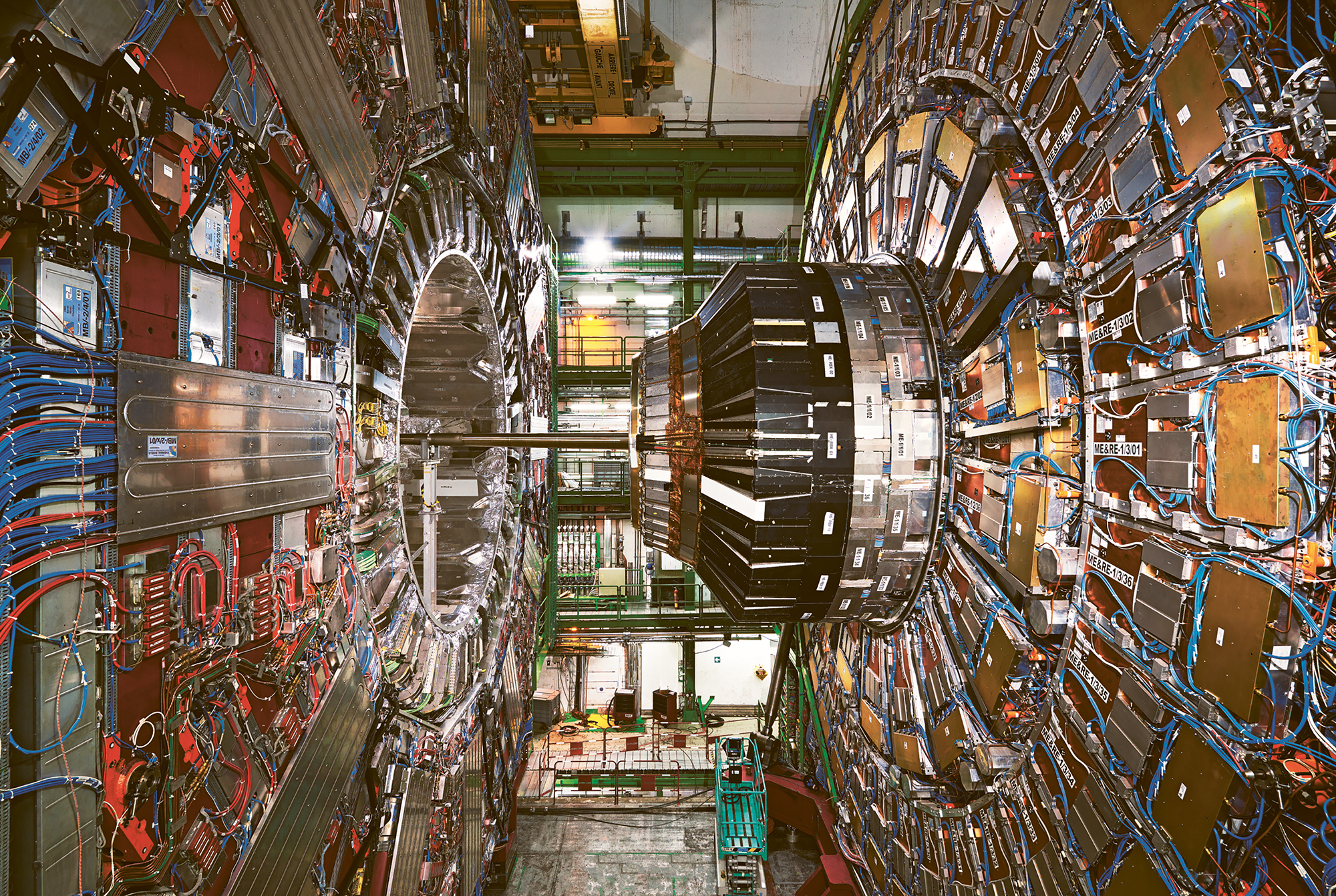 Enrico Sacchetti, CMS experiment at CERN's Large Hadron Collider the world's largest and most powerful particle collider located near Geneva, 2014; from  Seeing Science  (Aperture and University of Maryland, Baltimore County, 2019)