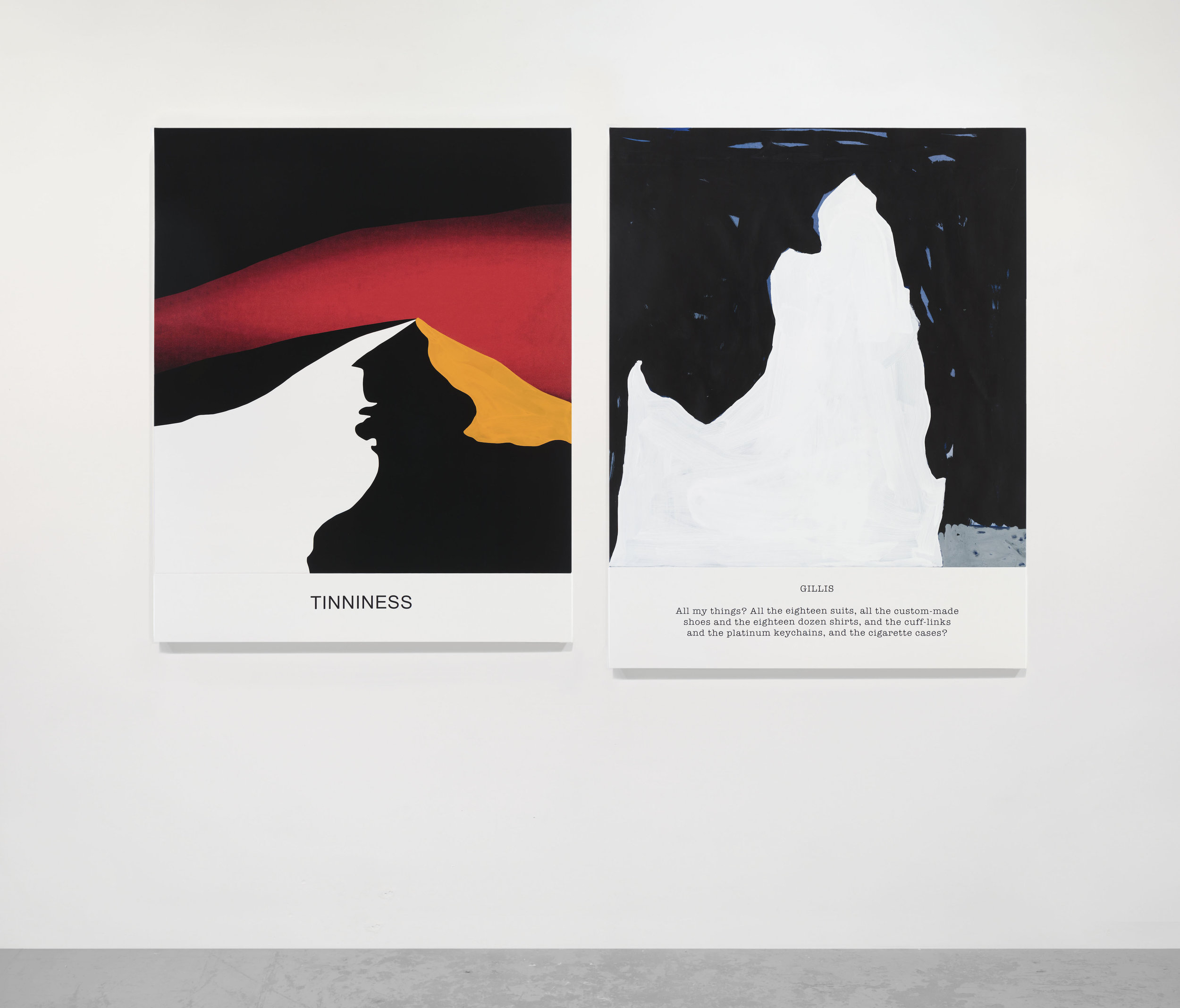 John Baldessari, Hot & Cold Series: TINNINESS, GILLIS All my things? , 2018. Varnished inkjet prints on canvas with acrylic paint. Volcano: 55 1/2 x 45 x 1 1/2 in. (141 x 114.3 x 3.8 cm). Iceberg: 58 5/8 x 45 x 1 1/2 in. (148.7 x 114.3 x 3.8 cm) (22377). Courtesy of Marian Goodman Gallery.