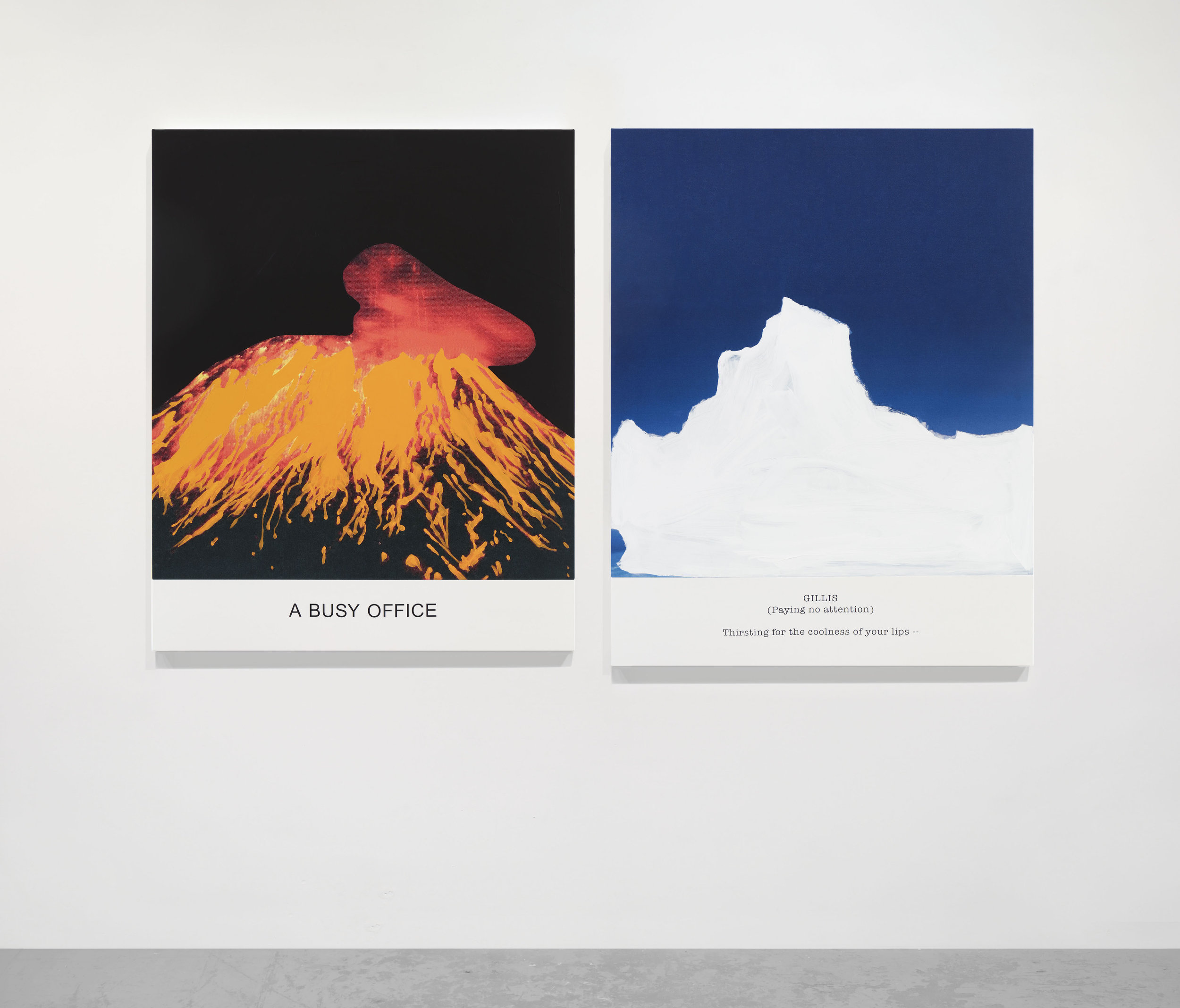John Baldessari, Hot & Cold Series: A BUSY OFFICE, GILLIS (Paying no attention), 2018. Varnished inkjet prints on canvas with acrylic paint. Volcano: 55 1/2 x 45 x 1 1/2 in. (141 x 114.3 x 3.8 cm). Iceberg: 57 3/8 x 45 x 1 1/2 in. (145.7 x 114.3 x 3.8 cm) (22370). Courtesy of Marian Goodman Gallery