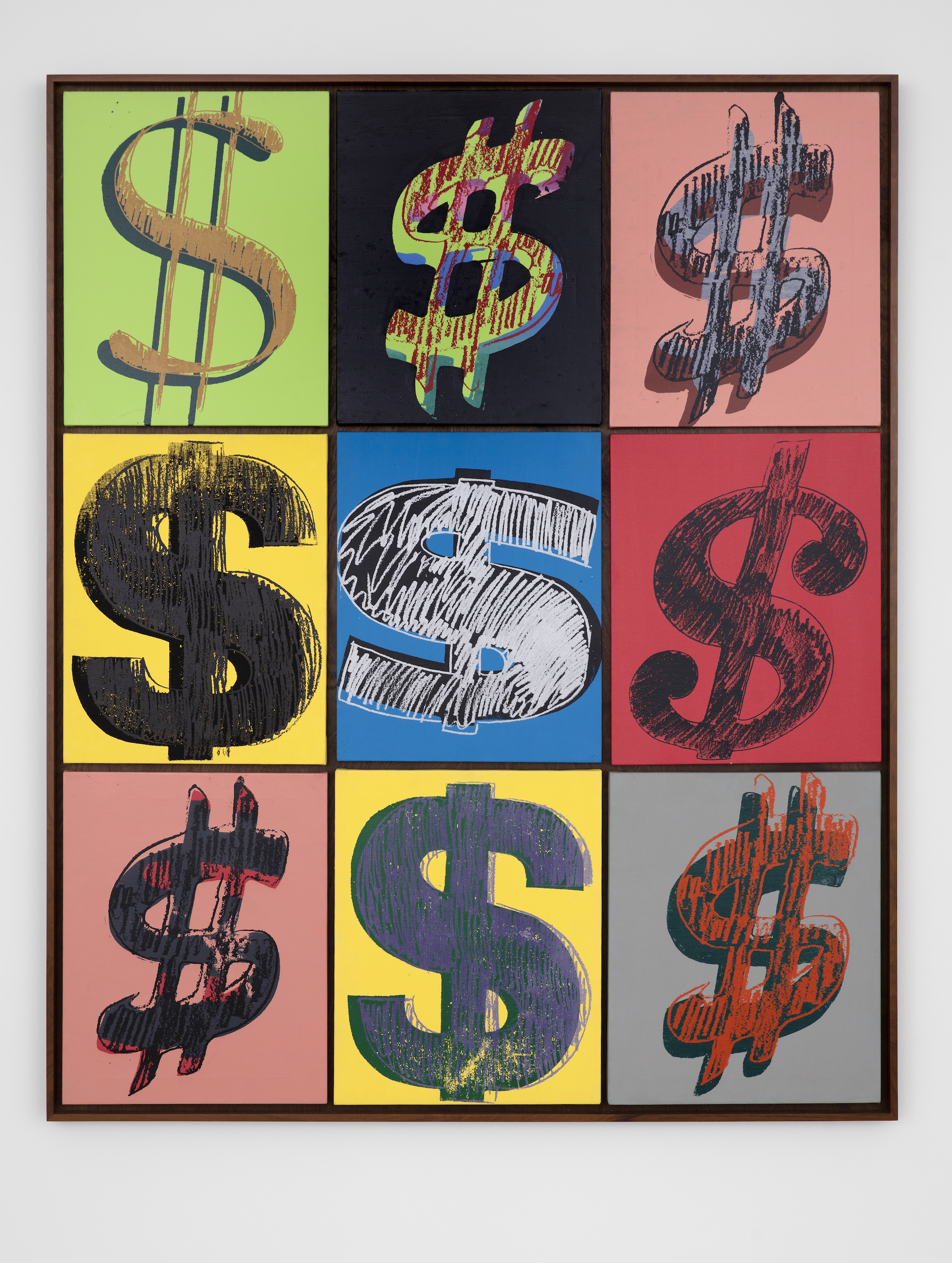 ANDY WARHOL,  Dollar Signs , c. 1981. Acrylic and silkscreen on canvas. 62 3/4 x 51 inches. AW81.007 ©2019 The Andy Warhol Foundation for the Visual Arts, Inc. / Licensed by American Rights Society (ARS), New York. ©The Estate of Jean-Michel Basquiat / ADAGP, Paris/ ARS, New York 2019.