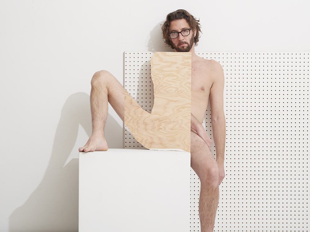 Naomi with Plinth Pegboard and Plywood, Self Portrait 2016 © Bill Durgin
