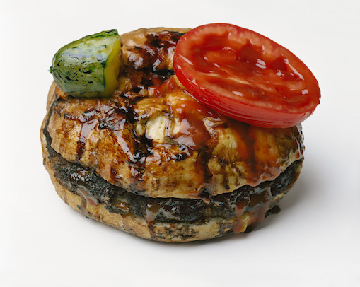 "Sharon Core, ""Hamburger with Pickle and Tomato Attatched"", 2019. Archival Pigment Print. Courtesy of the artist and Yancey Richardson."