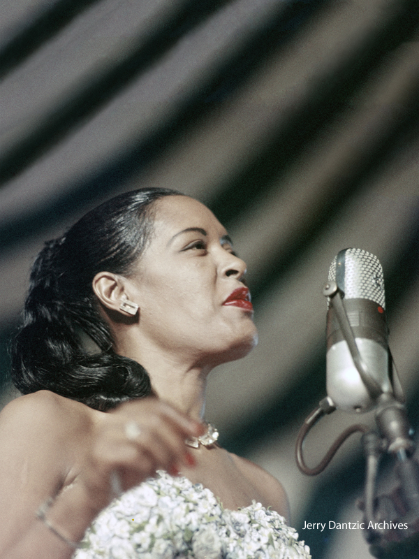 Billie at the 2nd New York Jazz Festival on Randall's Island, August 24, 1957. © 2017 Jerry Dantzic/Jerry Dantzic Archives. Courtesy Thames & Hudson.