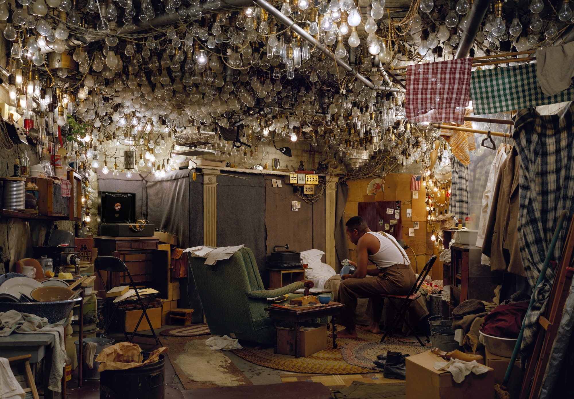 Jeff Wall,  After 'Invisible Man' by Ralph Ellison, the Prologue , 1999-2001, transparency in lightbox, 174.0 x 250.5 cm, Courtesy of the artist