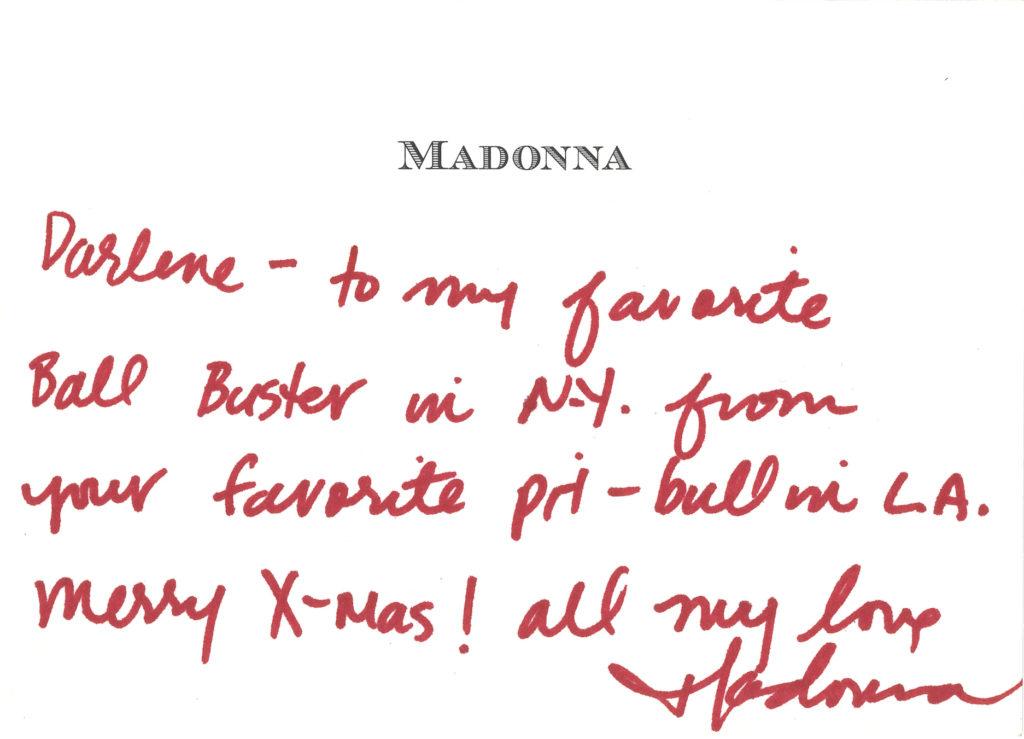 Madonna wrote this note to Darlene Lutz. Courtesy of Darlene Lutz.