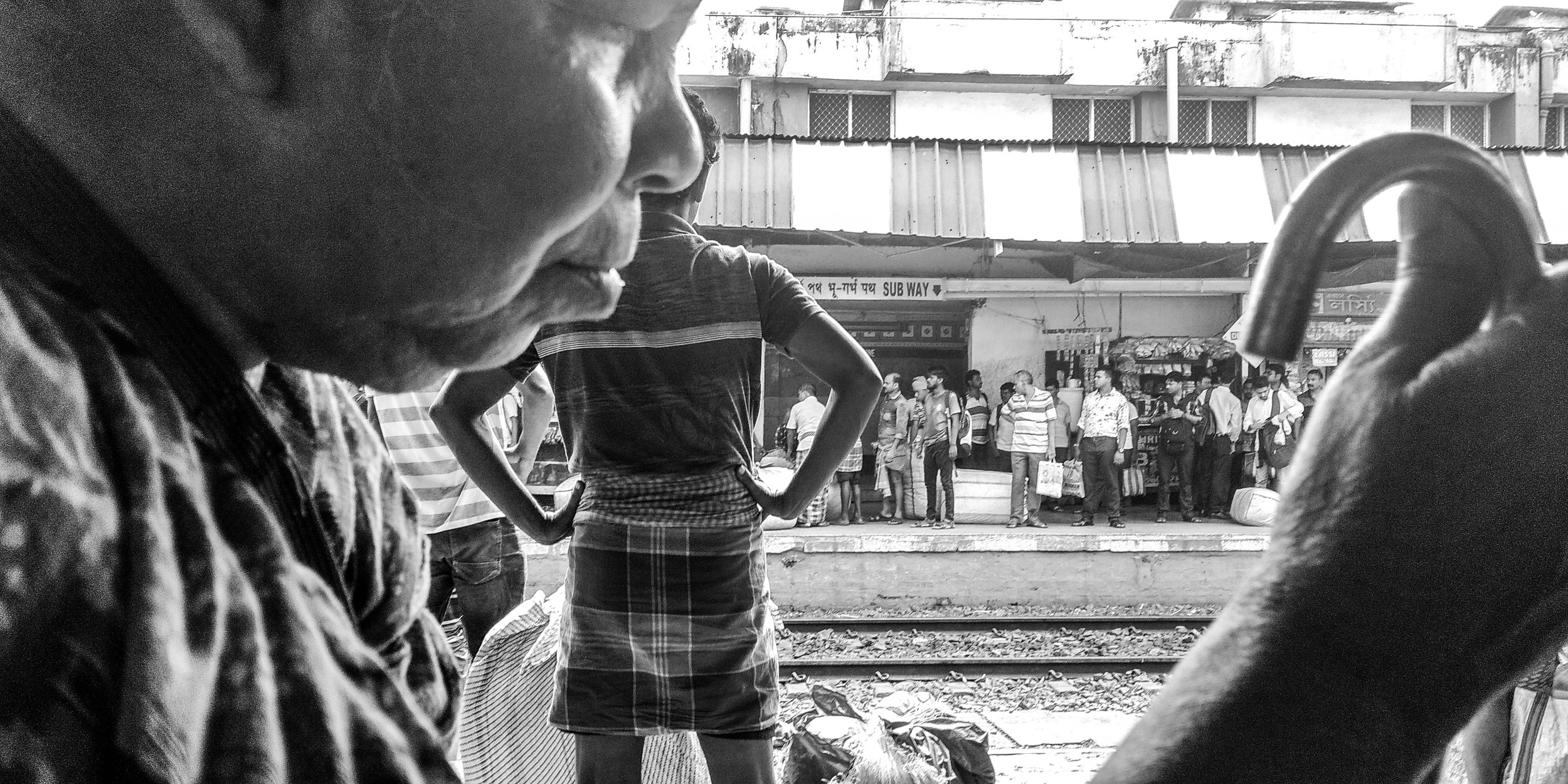 A blind old woman is waiting for her train. Date: 13 June, 2019  Location: Dum Dum Jn, Dum Dum Station Rd, South Sinthee, Biswanath Colony, Sinthee, Kolkata, West Bengal 700030, India