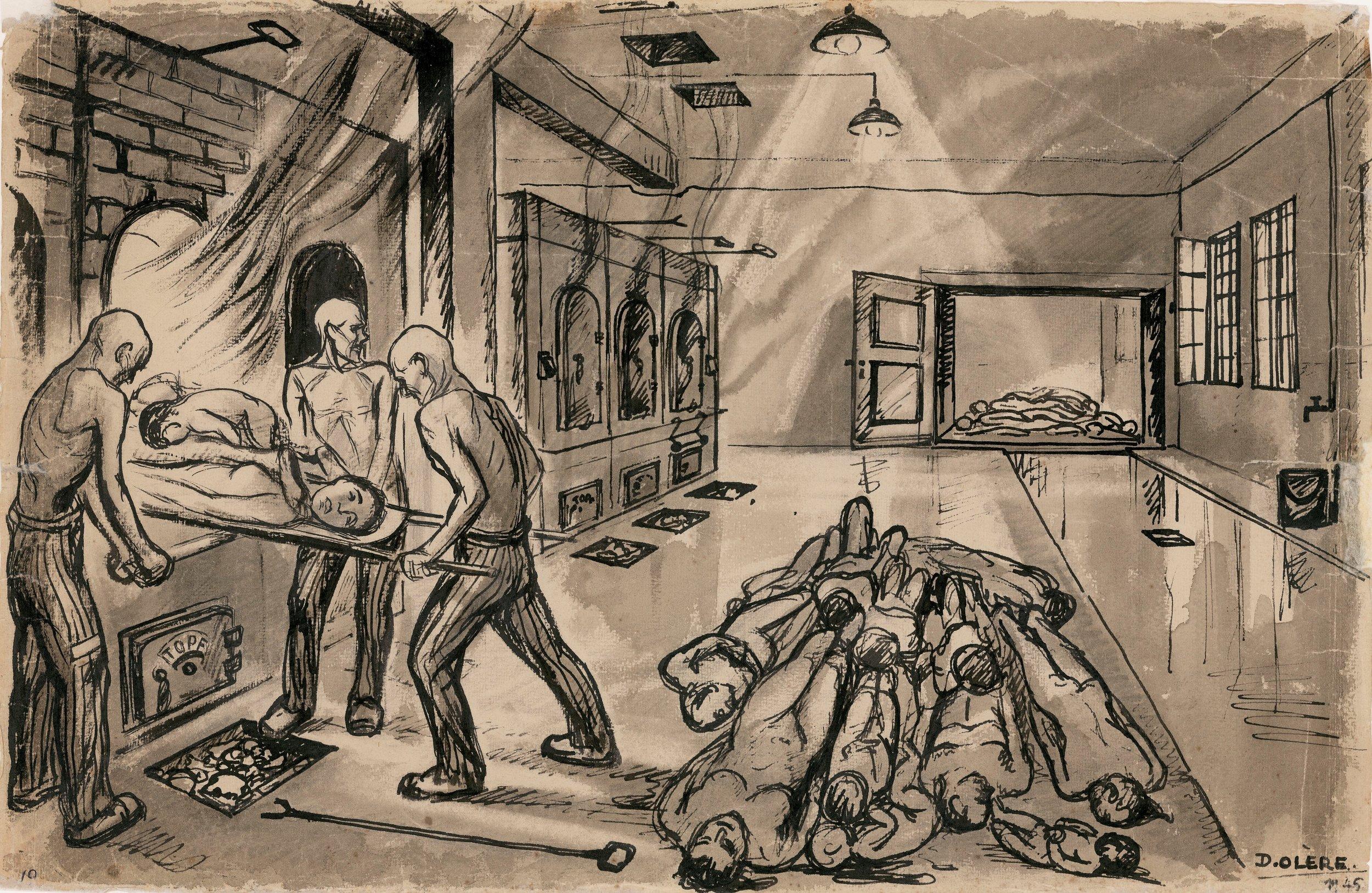 David Olere, incineration room in Crematorium 3, 1945. Marc Oler, France.
