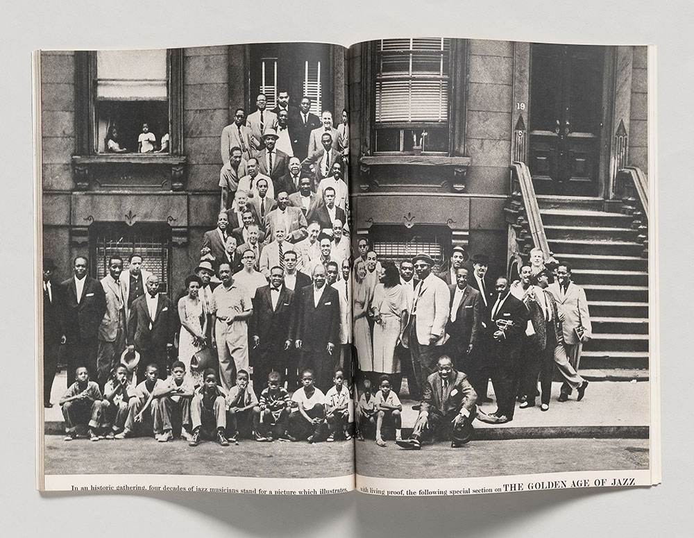 """Art Kane (1925–1995),  Harlem , 1958, In """"The Golden Age of Jazz,"""" Esquire, January 1959. The Morgan Library & Museum, Purchased on funds given by Peter J. Cohen, Ronald R. Kass, and Elaine Goldman; 2018.120. Photograph by Art Kane for Esquire, a publication of the Hearst Communications, Inc., Art Kane. Courtesy © The Art Kane Archive"""