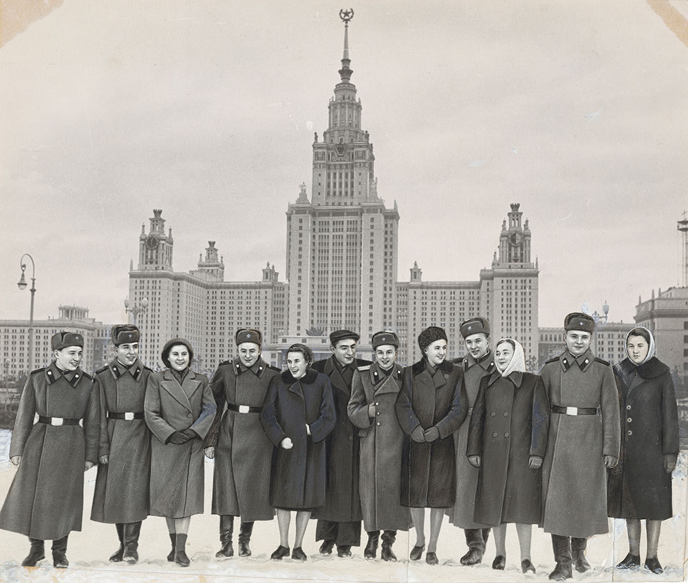 Photographer Unidentified,  Group at the Main Building, Moscow State University , after 1953, gelatin silver print and mixed media. The Morgan Library & Museum, Purchased as the gift of Peter J. Cohen, 2018.129.
