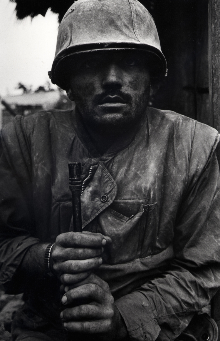 Don McCullin, Shell Shocked Marine, Hue, Vietnam, 1968, Gelatin silver print; printed later © Howard Greenberg Gallery