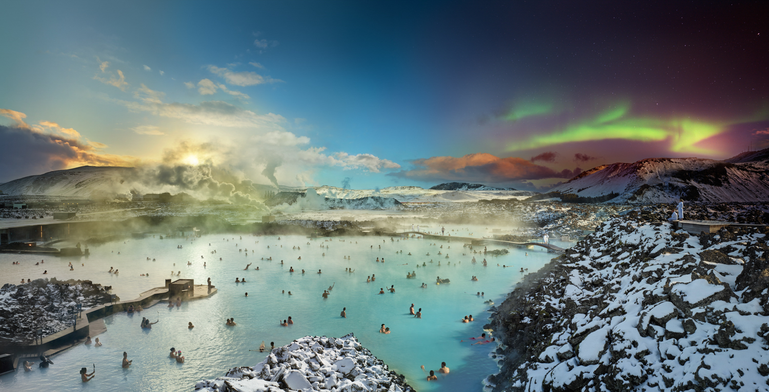 Stephen Wilkes,  Iceland Blue Lagoon, Day to Night , 2019, Archival C-print © Bryce Wolkowitz Gallery