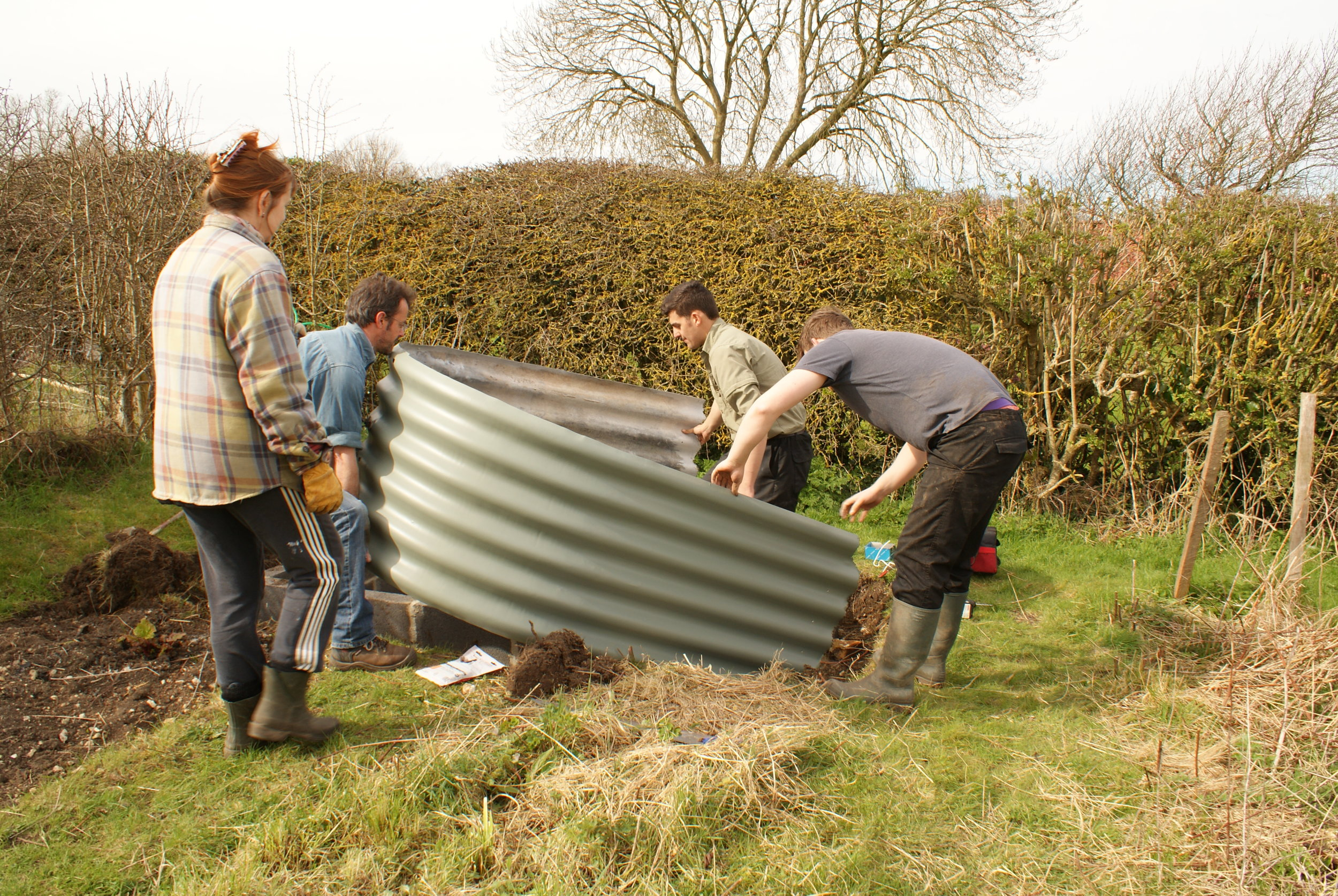 A recent construction project: a shed made from an old Anderson Shelter.