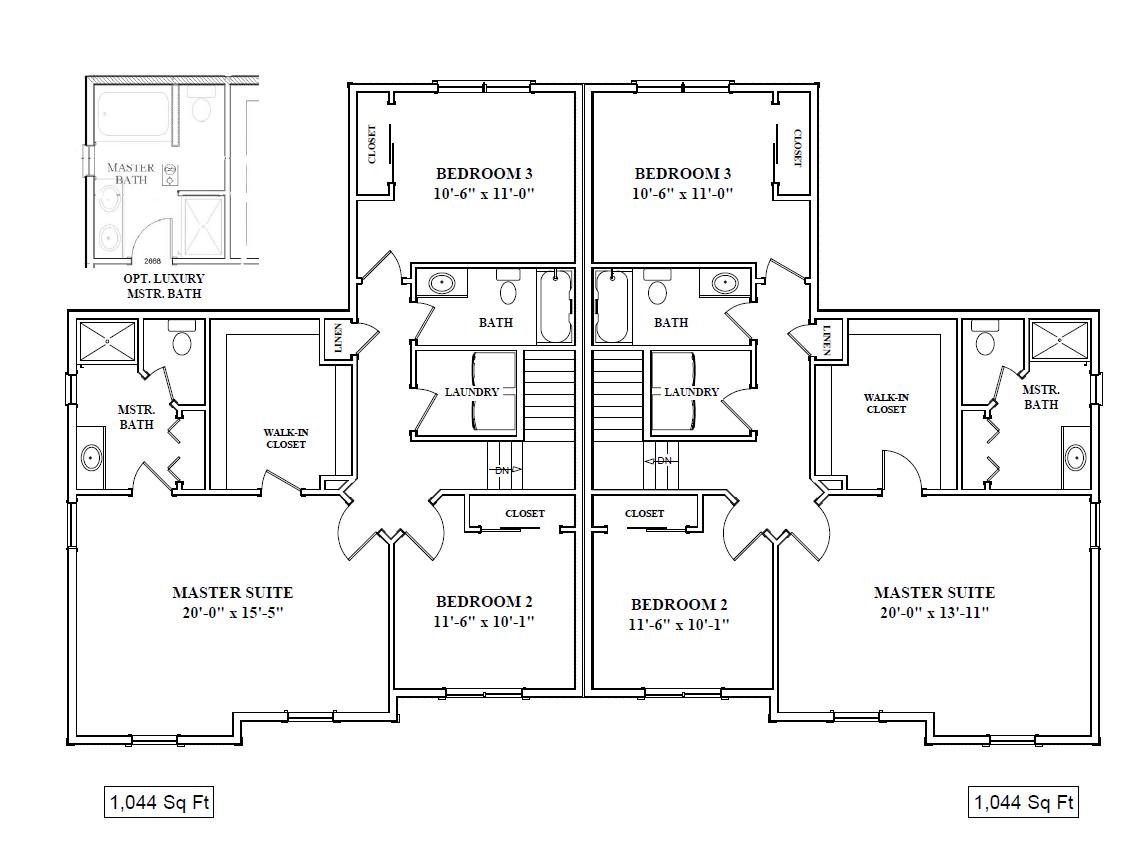 2nd Floor Layout (1,044 sq. feet)