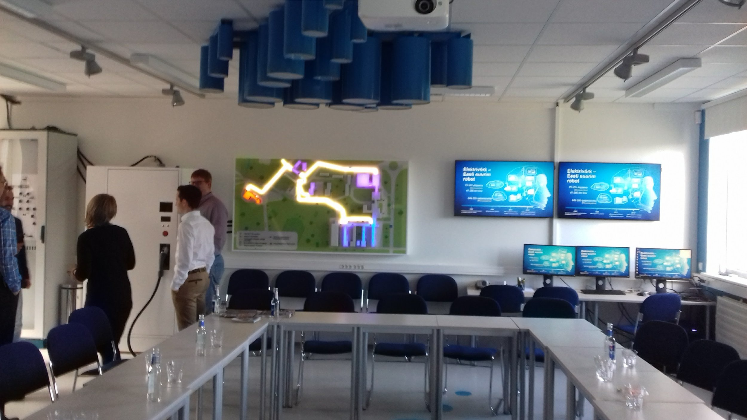 The local electricity utility sponsors an interactive training room with an electrical engineering theme