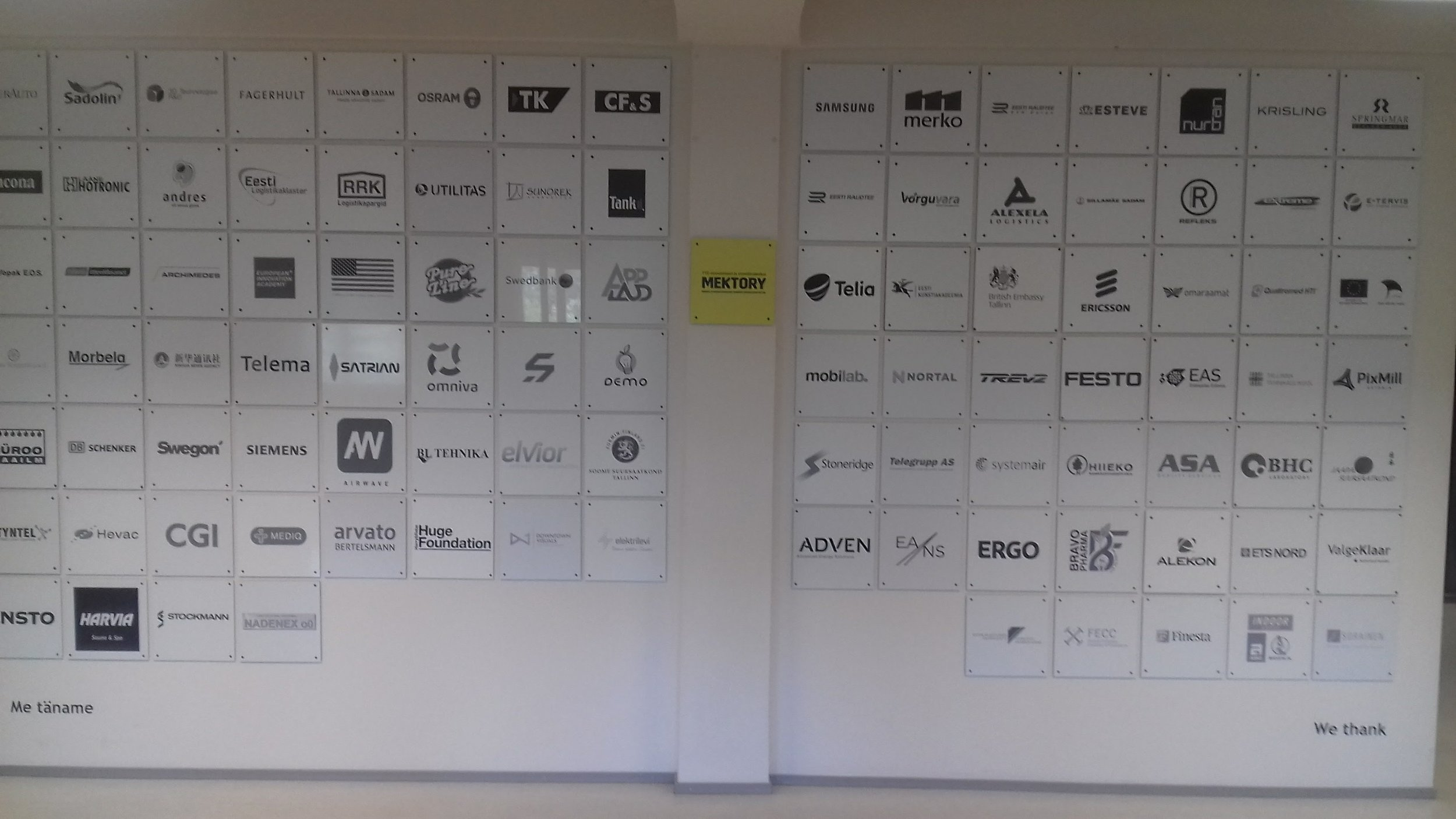 The sponsor wall shows all the supporters the MEKTORY centre.  The following day Blackstone Launchpad visited the startup conference  www.latitude59.ee  . In summary similar to any startup event in Europe. As expected government supports and university spin outs were to the fore.