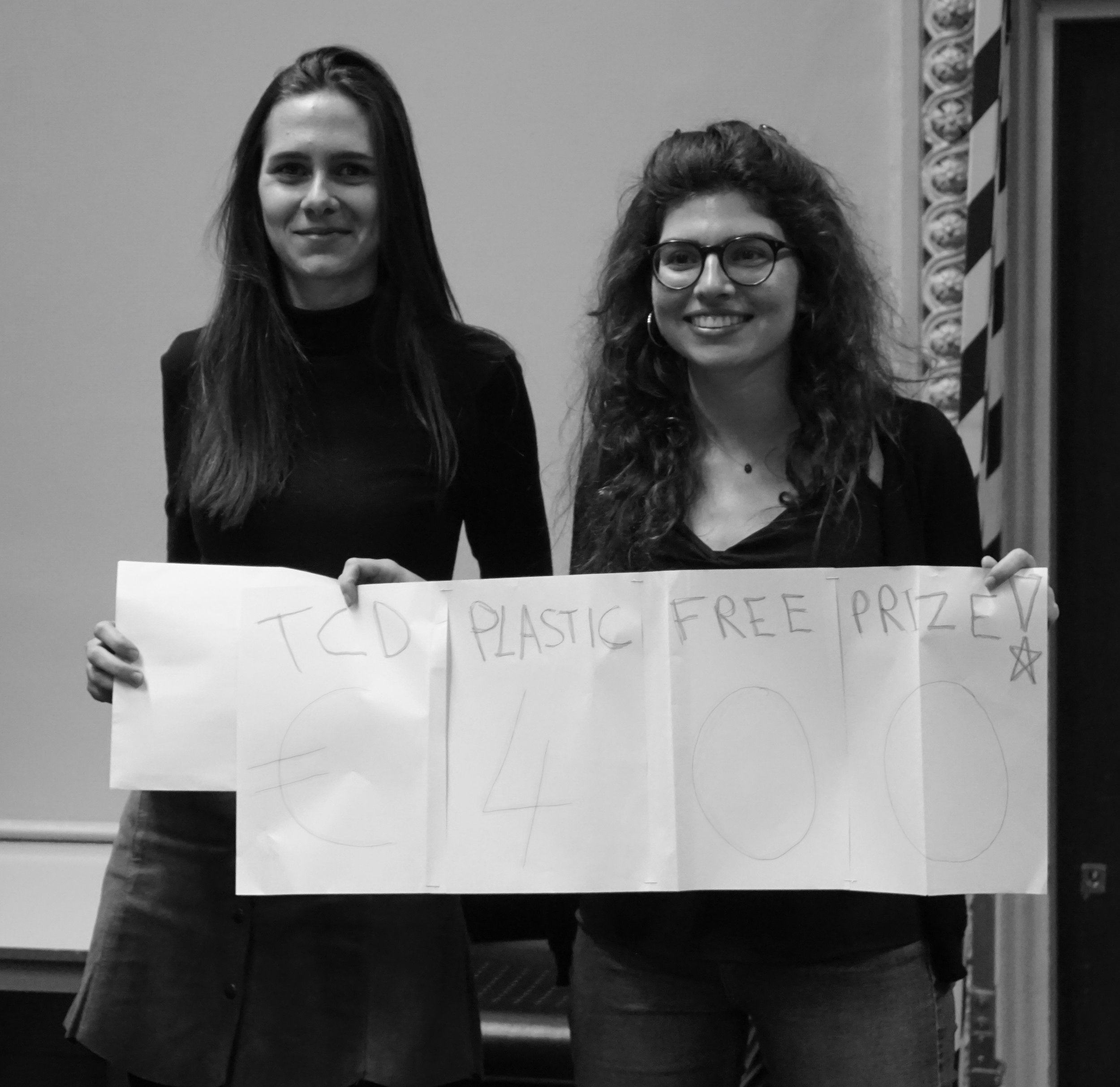 Winners Meryl Merran & Juliette Rontani, taking home top prize with their concept of a Trinity flask which can be combined with an ID card.