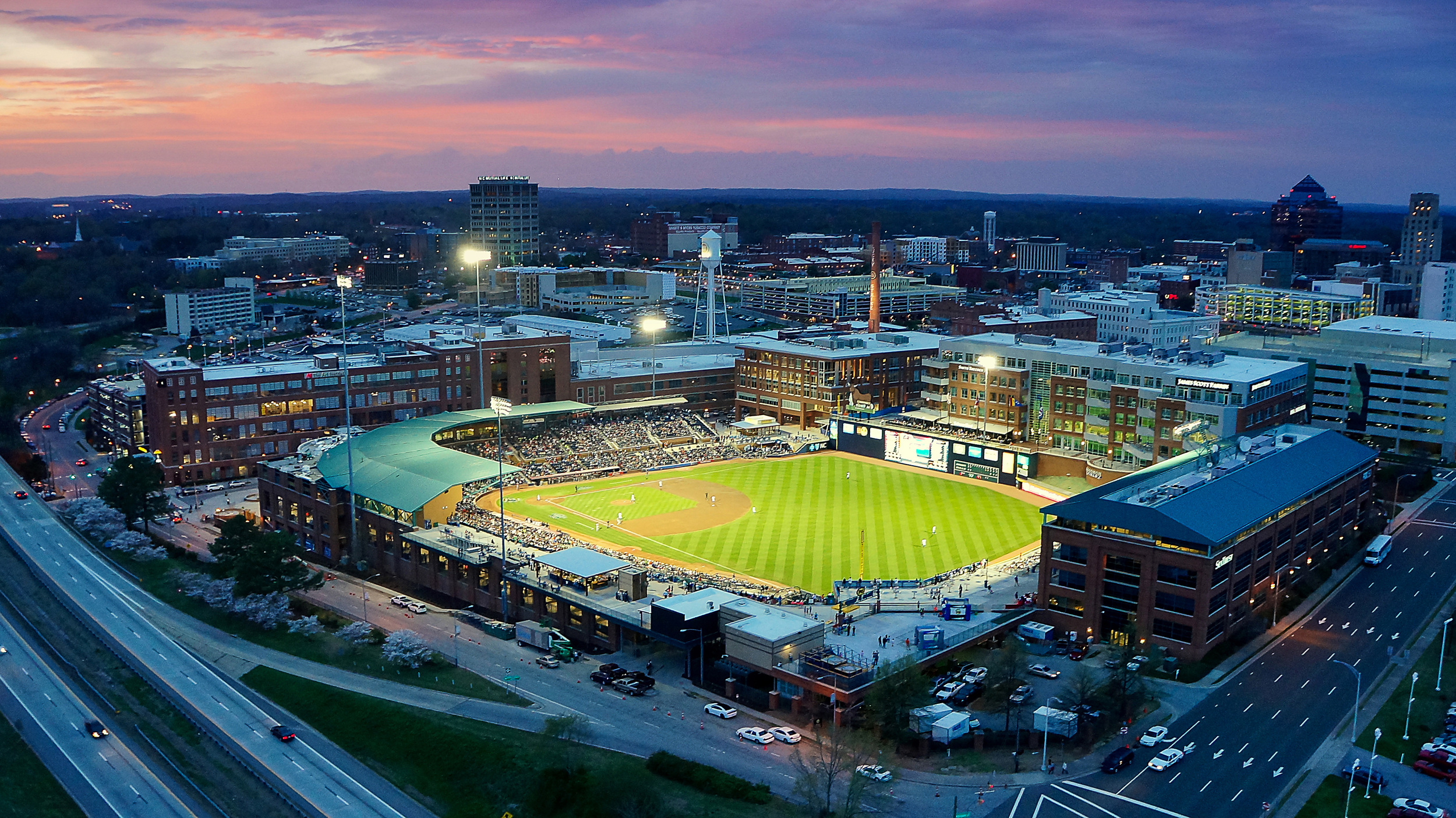 THE DURHAM BULLS BALLPARK (PHOTO COURTESY OF DRONESTAGR.AM)