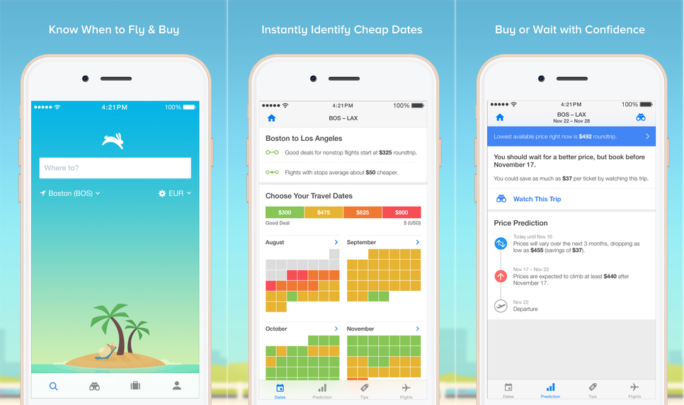 AFTER CHOOSING OUR DESTINATION, WE USED HOPPER TO TRACK OUR AIRFARE. THE APP SENT US NOTIFICATIONS WHEN THE FARES WERE PREDICTED TO INCREASE/DECREASE.
