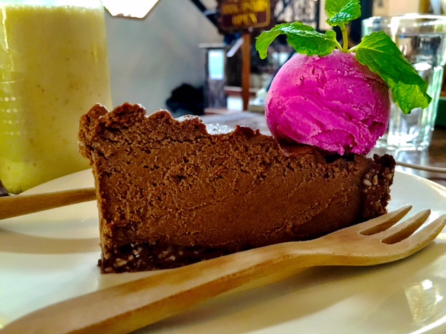 THE CHOCOLATE TART WITH DRAGON FRUIT ICE CREAM FROM SEEDS OF LIFE