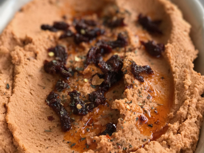 sun-dried tomato hummus - pair with some pita or crackers!