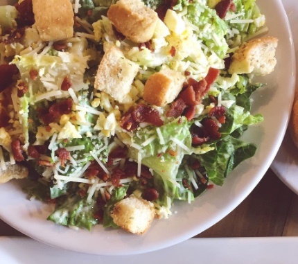 ELIZA HOUSE SALAD  Romaine, pecan-bacon, hard cooked egg, housemade croutons, Parmesan cheese, creamy peppercorn dressing  $36/4-6   entrée servings or 8 appetizer servings   *add chicken +$12, shrimp +$18