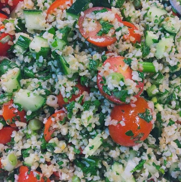 ELIZA TABBOULEH  Bulgur wheat, cucumbers, cherry tomatoes and fresh mint  $20/6 side servings