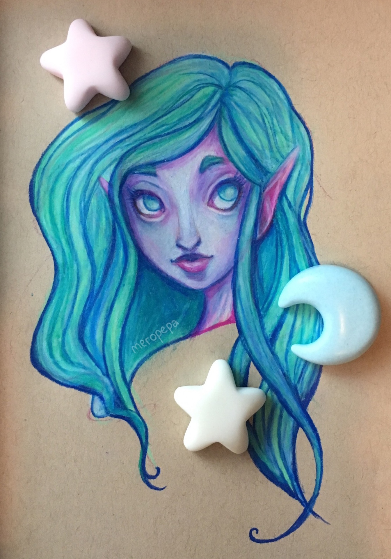 """""""Water Nymph""""   Prismacolor colored pencils on tan-toned Strathmore paper   Decorative stars and moon were hand cast in plastic"""