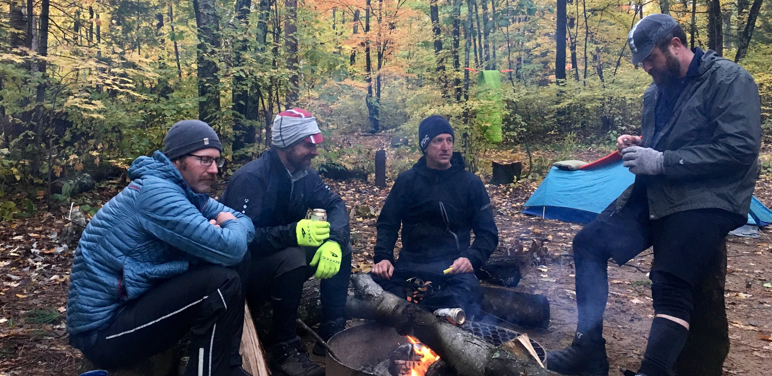 Fireside Chat in Wisconsin north woods with Justin McBride: Bikepacker, Gravel racer, Friend. L-R Justin, Stu Garwick, Troy Edler, Mike Feller