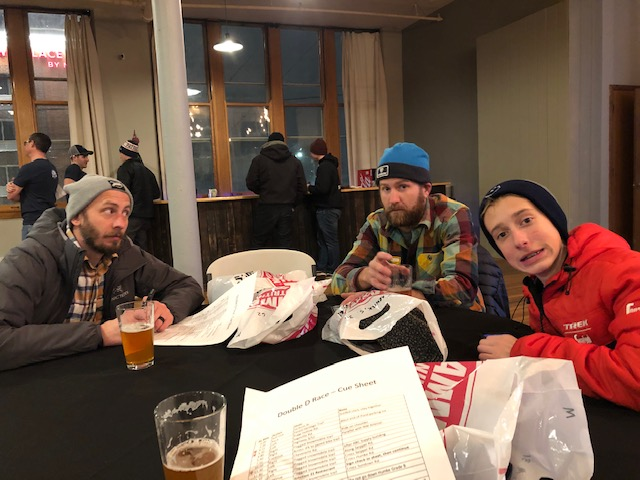 Friday night pre registration and rider meeting. Left to right: Jake, Justin, and Max