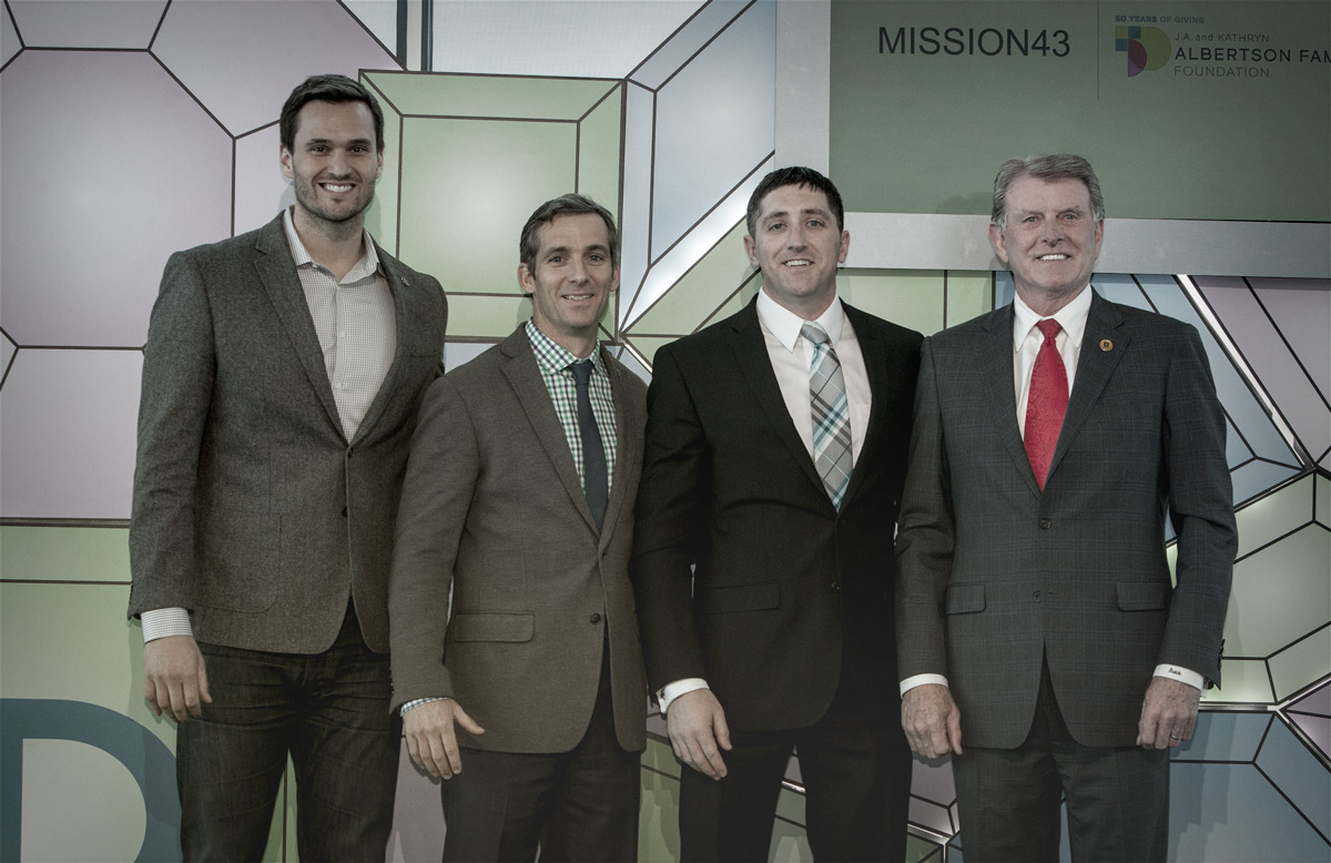 """Mission43 Launch; From Left to Right: Jake Wood, Co-founder & CEO: Team Rubicon; Blayne Smith, Executive Director: Team Red White and Blue; Bryan Madden, Program Manager: Mission43; Butch Otter, Idaho Governor."""