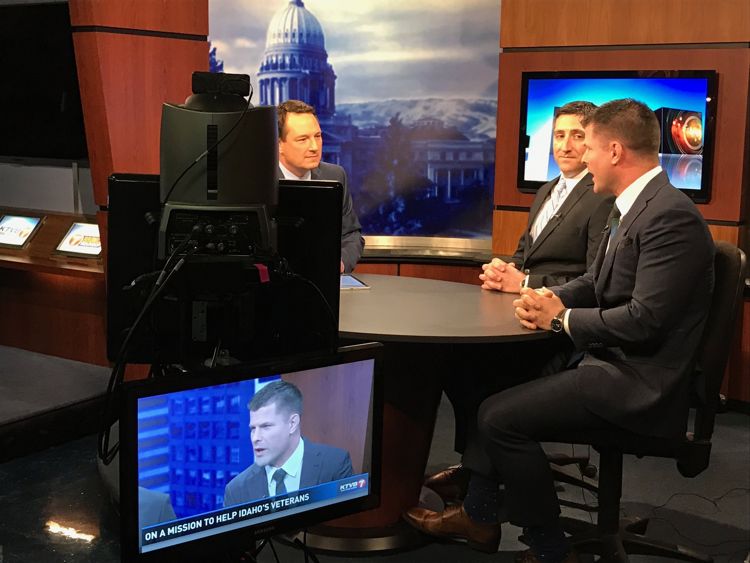 Behind the scenes on KTVB with Doug Petcash (left), Bryan Madden (middle), and Brian Stann (right).