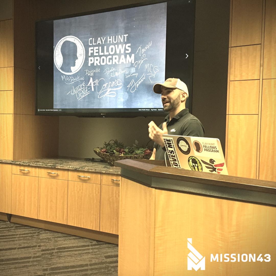 Jerome Deniz, briefing Idaho TR members on the Clay Hunt Fellowship Program.