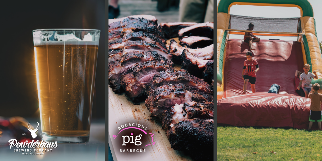 When you check-in for the run you will receive a bracelet that is good for one plate of BBQ from Bodacious Pig and a beer from Powderhaus Brewing. Waters and sodas will also be available in coolers around the run area. Enjoy!