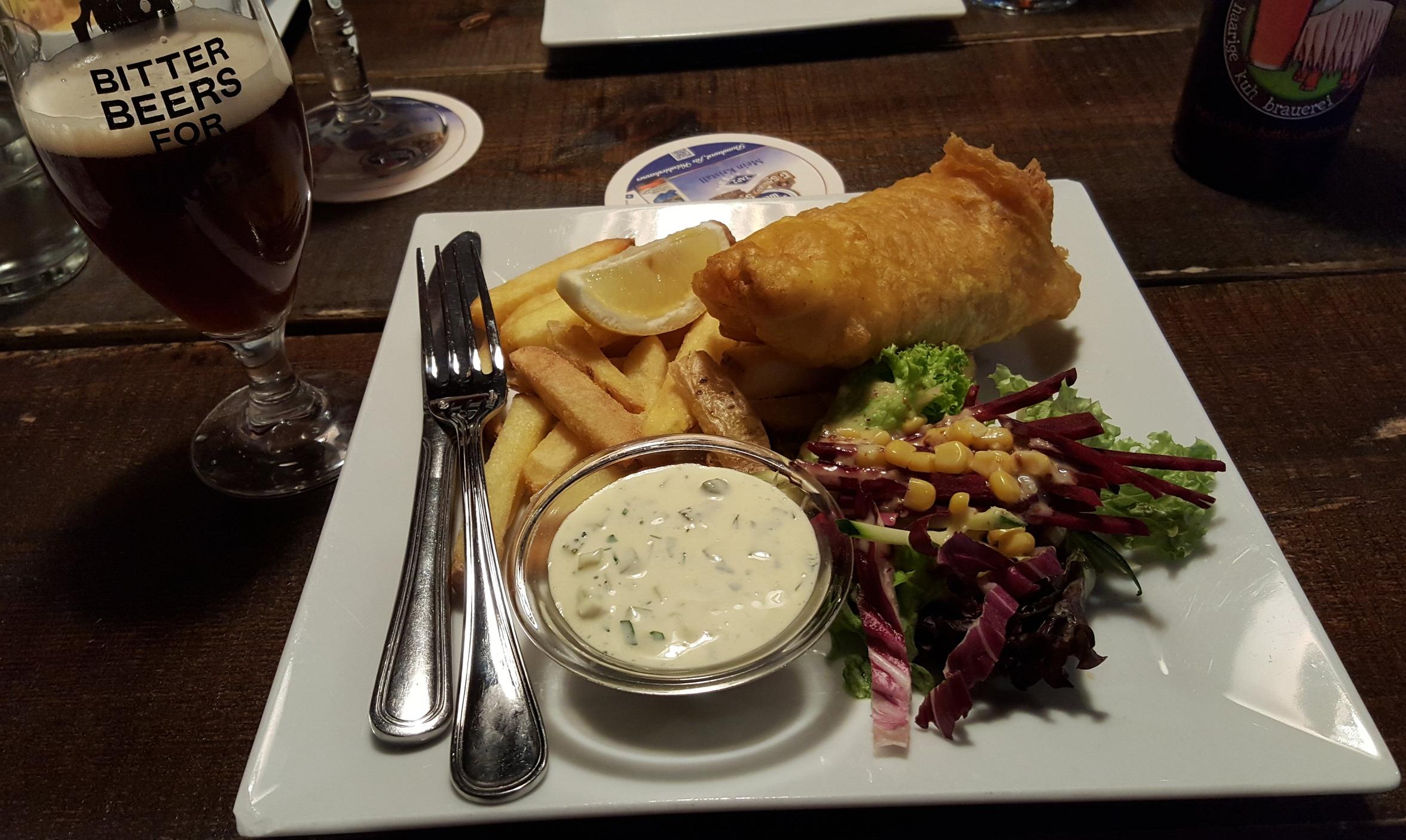 Beer and fish & chips from Husi Bierhaus (Interlaken, Switzerland)