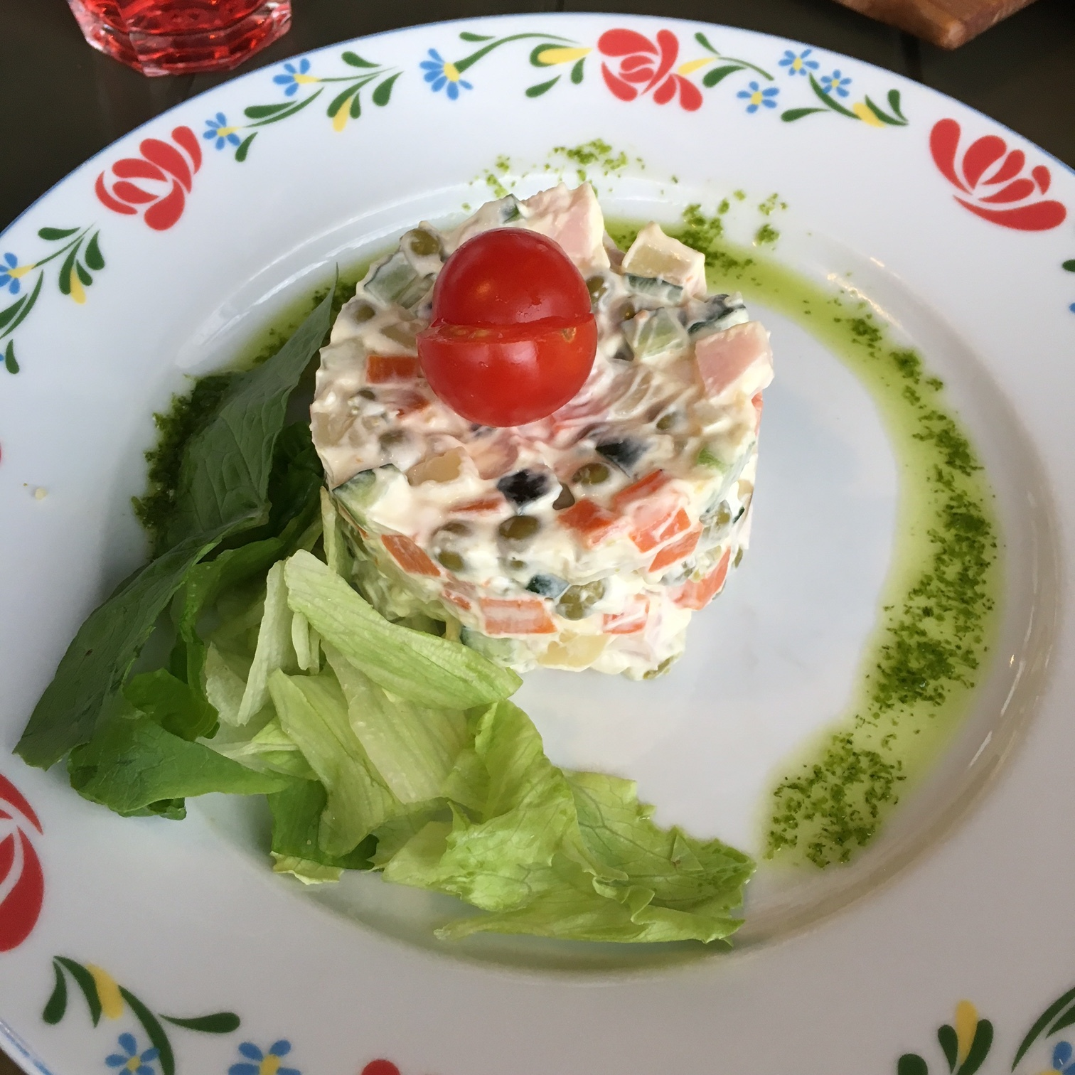 Olivier salat. This is a traditional Russian salad which is compulsory at New Year's and on Birthdays.