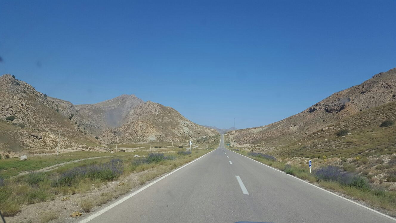 Driving through beautiful scenery on the way to the Turkmen border